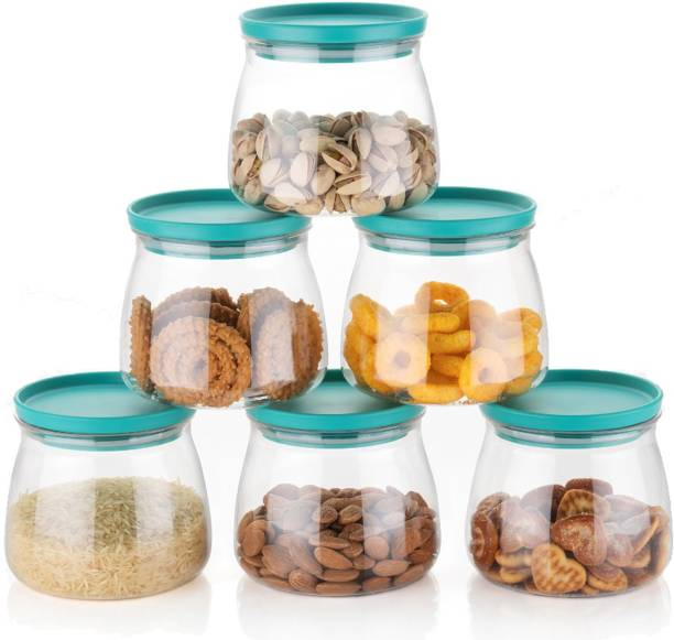 JOIE Airtight Container Jar Set For Kitchen - 900ml Set Of 6 | With Green Cap | Jar Set For Kitchen | Kitchen Organizer Container Set Items | Air Tight Containers For Kitchen Storage | Made In India  - 900 ml Plastic Grocery Container