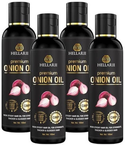 Hellarii 3X Time More Effective Premium Onion Hair Oil - 100ml (Pack of 4) Hair Oil