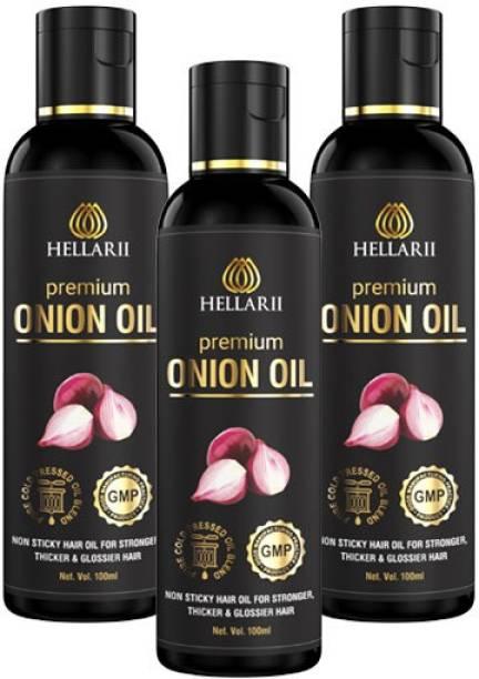 Hellarii 3X Time More Effective Premium Onion Hair Oil - 100ml (Pack of 3) Hair Oil