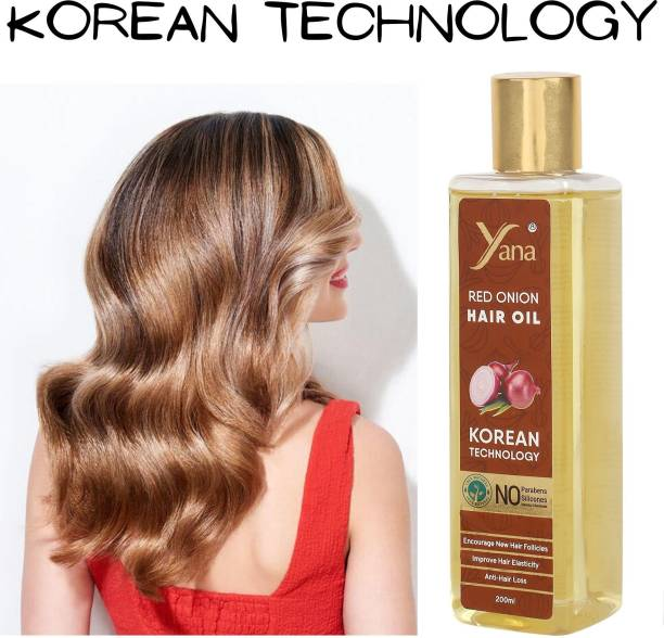 Yana Red Onion Hair Oil KOREAN TECHNOLOGY Almond Aloe vera Extract Vitamin E Bhringraj Amla Brahmi // Anti Dandruff Control Intense Long Treatment NO Silicones For Men & Women growth women in Long increase with Black Seed Onion Herbals 100% Pure Ayurvedic Herbs for ReGrowth And Anti-Hair Fall Care  Hair Oil