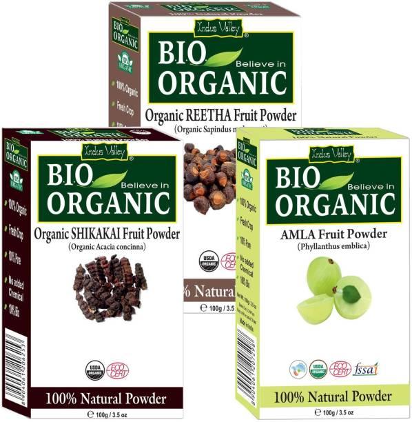 Indus Valley BIO Organic Herbal Amla + Shikakai + Reetha Powder- Combo Pack of 3-in-1