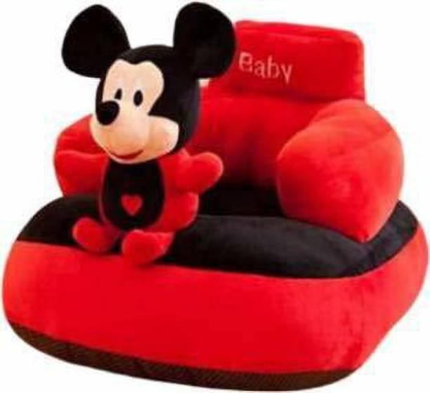 Sarika Enterprises Mickey Mouse Shaped Soft Plush Cushion Fabric Sofa