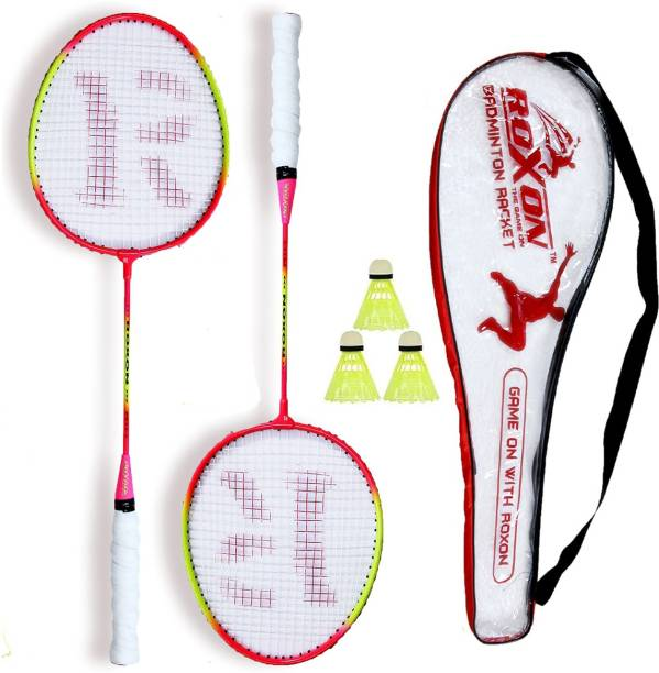 KNK Multicolor Pack Of 2 Piece Badminton With 1 Piece Cover And 3 Piece Plastic Shuttles Badminton Kit