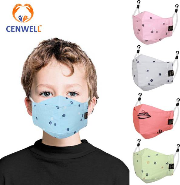 CENWELL 100 % Cotton Kids 3D Face Mask Reusable Washable Breathable Skin Friendly N95 Soft Cotton Fabric Face Mask with Adjustable Ear loops for Boys Girls Children Babies (Anti Pollution Mask , Anti Viral Mask , Anti Bacterial Mask ) (School Mask , Outdoor Mask , Kids Party Mask) (Child Mask , Kids Mask 3 years, Kids Mask 4 years , kids Mask 5 years , kids mask 6 years , kids mask 7 years , kids mask 8 years , kids mask 9 years , kids mask 10 years up to 14 yrs ) ( Mask for kids , boys , children , girls ) KIDS3DMASK Water Resistant, Reusable, Washable Cloth Mask With Melt Blown Fabric Layer