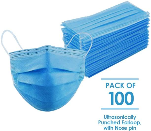 Prism 100 Units Disposable 3 Layer Pharmaceutical Breathable Surgical Pollution Face Mask Respirator with 3 Ply For Men, Women, Kids SR0008-100 Surgical Mask With Melt Blown Fabric Layer