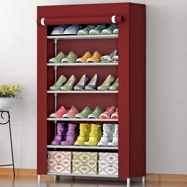 Hemovia 6-Layer-Maroon For Home Letest Metal Collapsible Shoe Stand Plastic, Metal, Solid Wood Shoe Rack