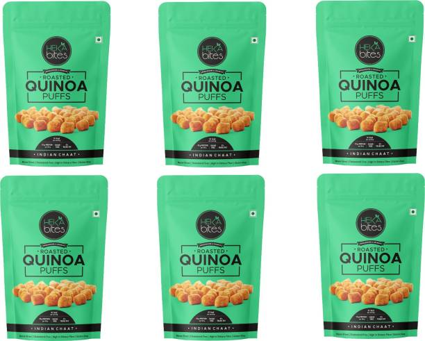 Heka Bites Roasted Quinoa Puffs Indian Chaat - Pack of 6|Healthy Snack|91 Kcal per serving|Sugar Free|High Protein and Fibre|Cholesterol Free| Gluten Free