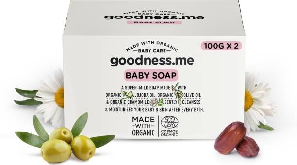goodnessme Certified Organic Moisturizing Baby Soap for Sensitive Skin Pack of 2 (100g each), Paediatrician & ECOCERT France Certified, Hypoallergenic