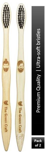 The Green Craft Bamboo toothbrush s-type charcoal bristles pack of two Ultra Soft Toothbrush