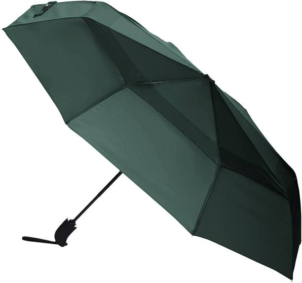 KriShyam 3 Fold Plain Pipine Umbrella for Men & Women UV Protection Monsoon/Rainy & Sun Umbrella (Bottle Green) Umbrella
