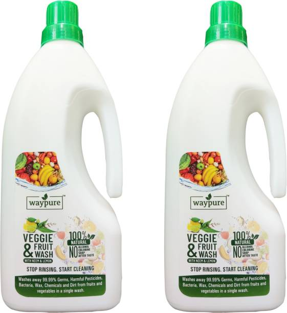 Waypure Veggie & Fruit Wash, 100% Natural, Removes 99.99% Germs, Bacteria, Pesticides, Chemicals | Disinfects for fruits and vegetables