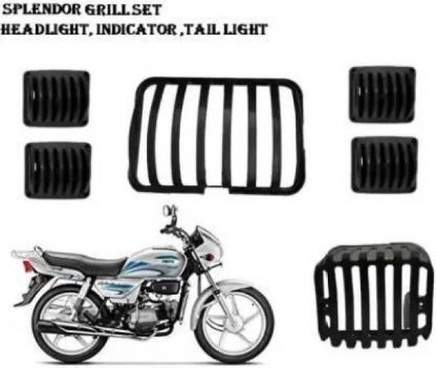 AUTOSCAPES SmartBuy 02 HEADLIGHT TAIL LIGHT INDICATOR GRILL COVER SET 6 Bike splendor grill, Headlight Grill {black color} Bike Headlight Grill