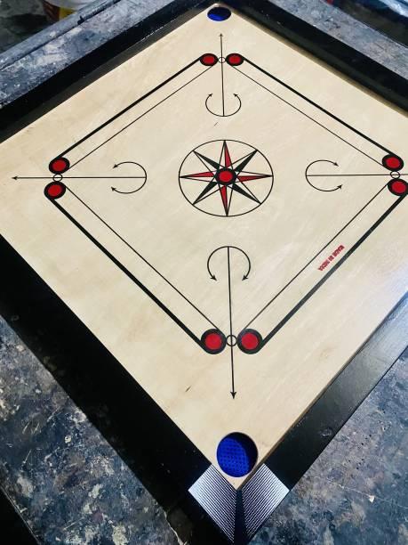 TYF Matte Finish medium Carrom Board with wooden Coins Striker Powder (26 x 26 Inch) 66 cm Carrom Board