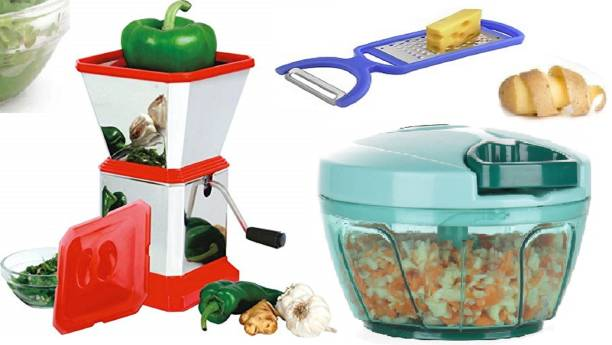 MANAKI TRADERS VIRGIN PLASTIC MATERIAL PREMIUM QUALITY KITCHEN COMBO SET (450 ML PREMIUM QUALITY CHOPPER,1 LTR STAINLESS STEEL CHILLI CUTTER WITH LIDAND MULTI FUNCTION PEELER) Vegetable & Fruit Chopper