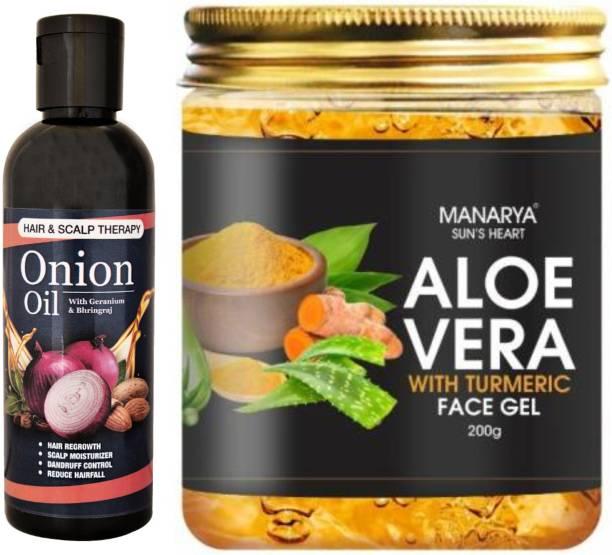 Manarya Sun's Heart Combo of Onion Hair Oil & Aloevera Gel