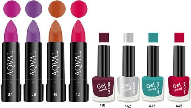 AQVAL Premium Combo Of Nail Polish And Matt Lipsticks110502021A15