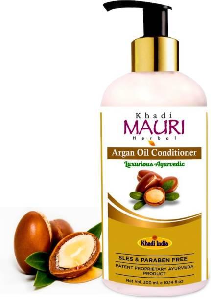 Khadi Mauri Argan Hair Conditioner - Powerful Hair Nourisher & Hair Growth Stimulater - SLES & Paraben Free - Enriched with Amla & Aloe Vera, 300 ml