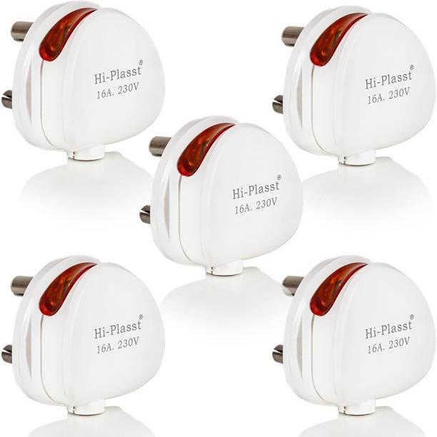 HI-PLASST 5PCS 16A 3 PIN TOP WITH LED INDICATOR ROUND MODEL 16A Round Indicator Power Plug
