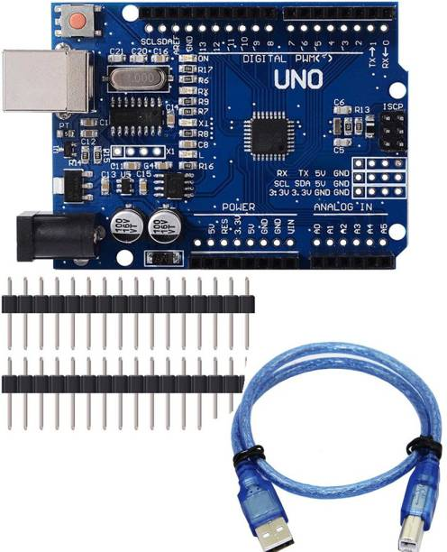 IDUINO Arduino Uno R3 Development Microcontroller Board SMD Version With Cable, Blue Educational Electronic Hobby Kit