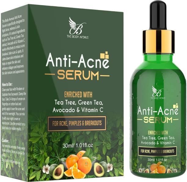 The Body Avenue Anti Acne Face Serum for Acne, Pimple & Dark Spots with Tea Tree, Green Tea, Vitamin C & Avocado