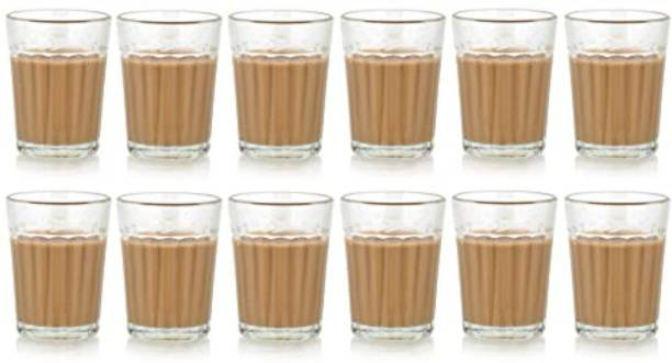 Satyam Kraft (Pack of 12) Traditional Indian Cutting Chai /Tea Style Experience Set Glass Set