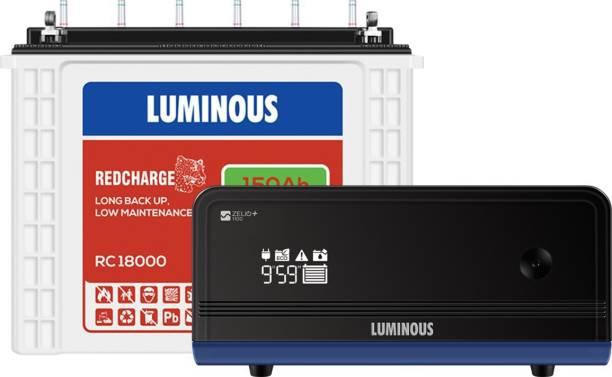 LUMINOUS Zelio 1100 Inverter with RC18000 150 Ah Tubular Battery Tubular Inverter Battery