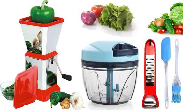 MANAKI TRADERS Premium range of kitchen tools set 450 ml virgin plastic chopper,stainless steel chilli cutter with LID,multi function peeler and 2 pieces set of spatulas combo kitchen set for your kitchen Premium range of kitchen tools set 450 ml virgin plastic chopper,stainless steel chilli cutter with LID,multi function peeler and 2 pieces set of spatulas combo kitchen set for your kitchen Pink Kitchen Tool Set