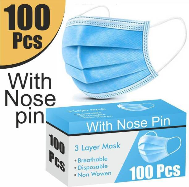 Hypertek 3 Ply Protective Face Mask with Nose Pin, Premium Mask For Men and Women 3 Ply Surgical Disposable Face Mask With Thick Melt Blown (SMMS) Filter, Anti-Virus, Anti-Bacteria, Anti-Pollution Mask with Nose Clip 100 Pieces with Nose Pin Surgical Mask With Melt Blown Fabric Layer