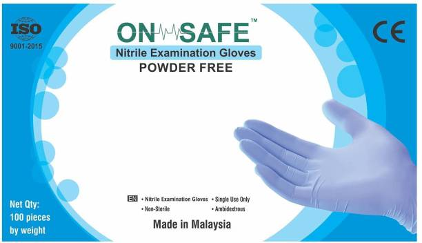 onsafe Nitrile Examination Gloves, Disposable Powder Free hand Gloves CE Certified Nitrile Exam Gloves Nitrile Examination Gloves