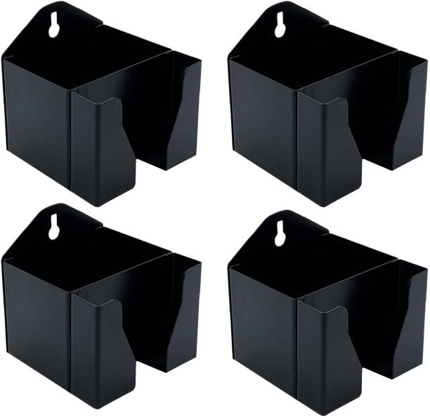 Crinds (Set of 4) Pure Metal Wall Mount Mobile Cell Phone Stand Holder Charging Stand for Wall with Double Pocket to Hold All Smartphones and iPhones with Charger Mobile Holder