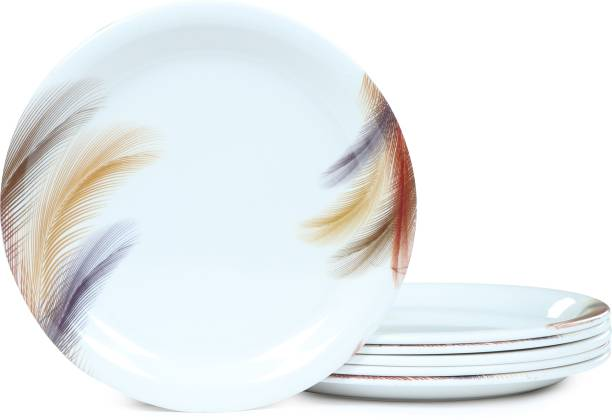 Golden Fish Melamine Round MorrPankh Printed Quarter||Starter Dinner Plates (Set of 6; Size:- 7 Inches (RM-MorrPankh-QP-6) Quarter Plate