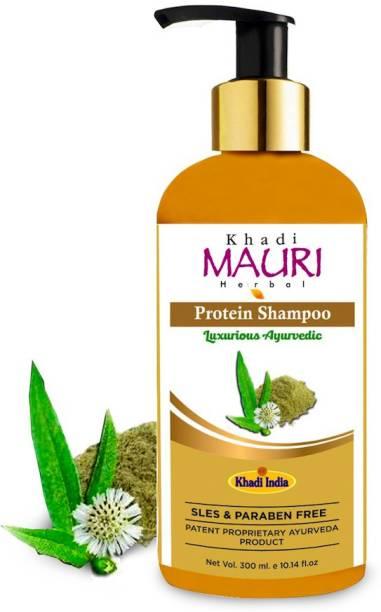 Khadi Mauri Herbal Protein Shampoo - Repairs, Strengthens & Revitalises Hair & Scalp - SLES & PARABEN FREE - Enriched with Milk Protein, Bhringraj, Amla & Aloe Vera - 300 ml