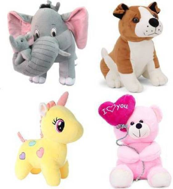 Shanshu Pack Of 4 Elegant Soft Toys Combo Set Bull Dog , Pink Balloon Teddy , Yellow Unicorn , Grey Mother Elephant Special Offers Toy  - 40 cm