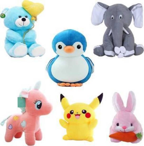 Shanshu Low Budget Edition Classic Super Soft Combo of 6 Stuffed Toys For Kids , Balloon Teddy , Elephant , Penguin , Unicorn , Pikachu , Rabbit (teddy bear)  - 35 cm