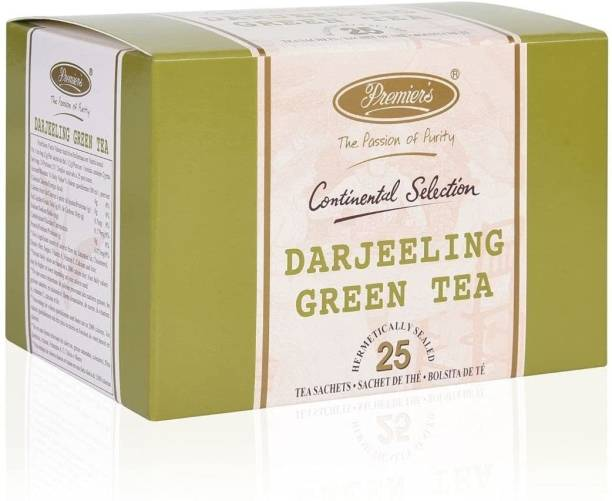 Premiers Darjeeling Green Tea | 25 Cups | 50 Grams | Tea Bags | Brew Hot or Iced | Garden Fresh Tea… Green Tea Bags Box