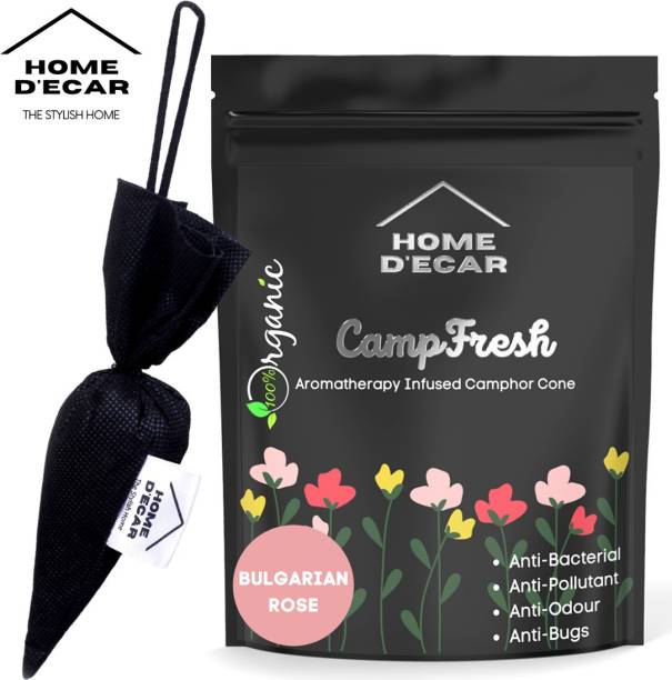 Home Decar Camp-Fresh Aromatherapy Infused Camphor Cone Bulgarian Rose Diffuser Set