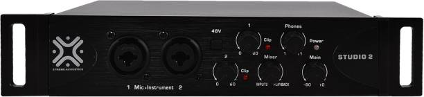 Xtreme Acoustics ST2, USB audio interface studio 2 with MIDI in and out, 48v phantom power preamp for mic and instrument. Audio Interface