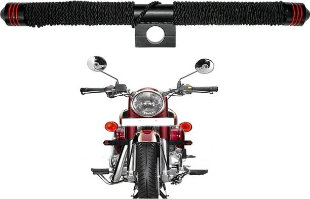 Miwings Heavy Duty Metal Black Rod Leg Guard Front Bike Safety Crash Bar-Rod with Wrapped Rope Bike Crash Guard Rope
