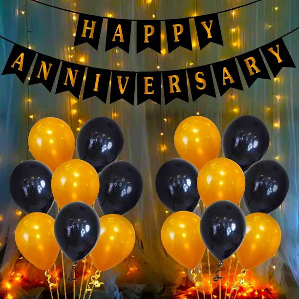Miss & Chief Solid Happy Anniversary Decoration Kit with LED Light Bunting, Metallic Balloons, 52Pcs Set for 1st, 5Th,25th Party Anniversary Decoration Items Combo Set/Couple Wedding, Marriage Celebration Balloon