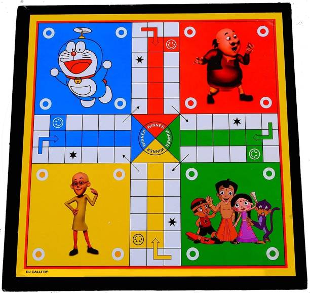 RJ Gallery Wooden Multicolor Ludo Board Inches with Free Dice & Tokens Roller, Snakes & Ladders (2 in 1 Games) Board Game Accessories Board Game Party & Fun Games Board Game