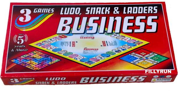 FILLYRUN FULL SIZE 3-IN-1 BUSINESS.LUDO AND SNAKES & LADDERS FOR KIDS AND FAMILY Party & Fun Games Board Game