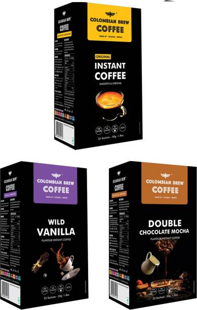 Colombian Brew Coffee Pure Instant 50g, Vanilla Instant 50g , Double Chocolate Mocha 50g, Buy 2 Get 1 Instant Coffee