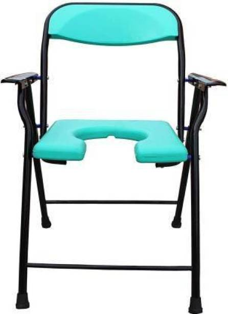 RADIANT TRADERS Green Foldable Commode & Showert Chairs With Pot (Black) Commode Chair