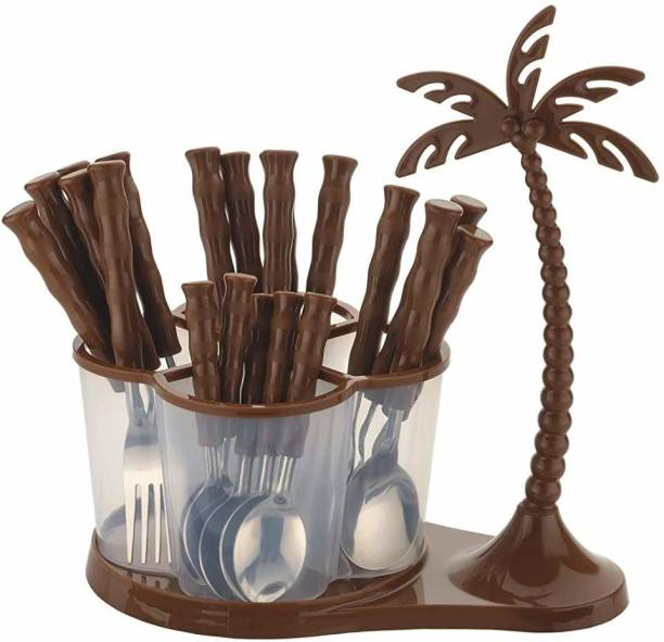 7 selez 24pcs Set of Stainless Fork and Spoon with Coconut Style Revolving Stand Plastic Cutlery Set Stainless Steel, Plastic Cutlery Set