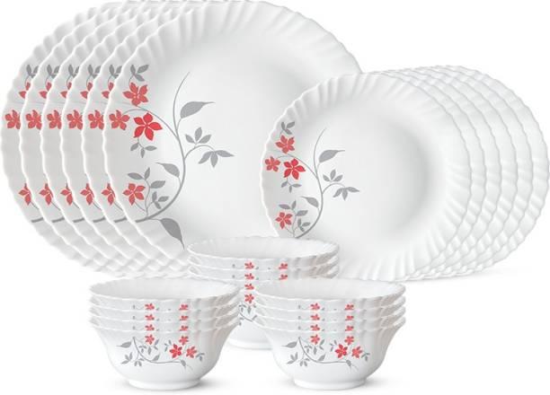 Larah by Borosil Pack of 24 Opalware Rosalie Dinner Set
