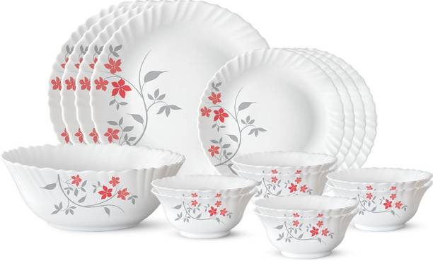 Larah by Borosil Pack of 17 Opalware Rosalie Dinner Set