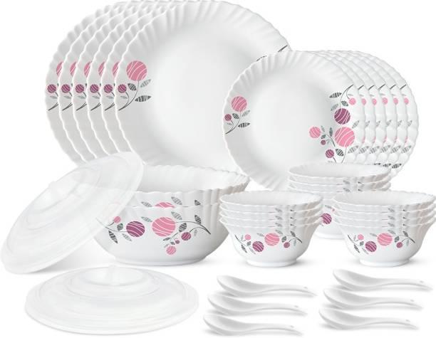 Larah by Borosil Pack of 34 Opalware Dahlia Dinner Set