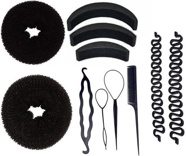 BELLA HARARO Hair Styling Tools Bun Maker Combo Offer Black (Combo of 11 Pieces) Hair Accessory Set