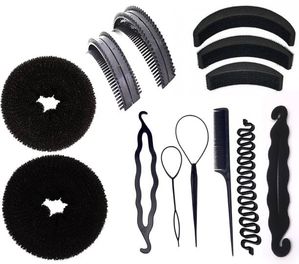 BELLA HARARO Hair Styling Tools Bun Maker Combo Offer Juda Bands / Comb / Braid Tools / Bun Maker For Girls And Women - COMBO OF 13 Pieces Hair Accessory Set
