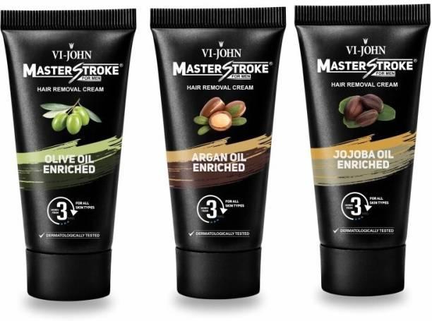 VI-JOHN Master Stroke Men Hair Removal Cream Olive/jojoba/Argan Oil 60GM Pack of 3 Cream